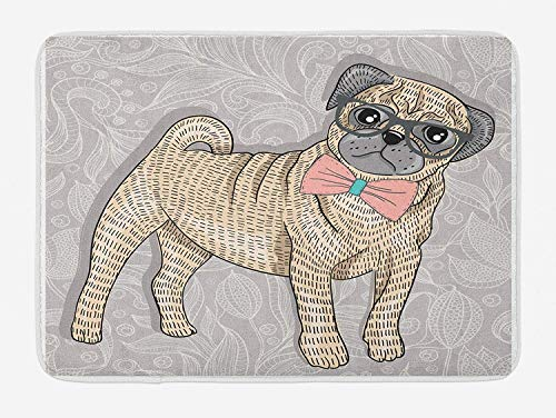 MSGDF Pug Bath Mat, Hipster Pug with Nerdy Glasses and Bow Tie Cartoon Design Funny, Plush Bathroom Decor Mat with Non Slip Backing, 15.7X23.6 inch, Pale Grey Pale Yellow Pale Pink