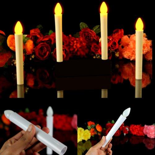 Set di 10 Candele LED Sottili Coniche per Matrimonio, Natale, Feste - Candele da Cena Decorative a Batteria di PK Green