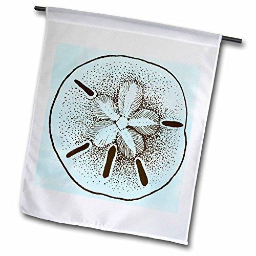 3dRose FL_99317_1 Blaue und brauner Sand-Dollar-Shells-Strand-Thema, Kunstdruck, Gartenflagge, 30,5 x 45,7 cm (Sand-dollar-kunst)