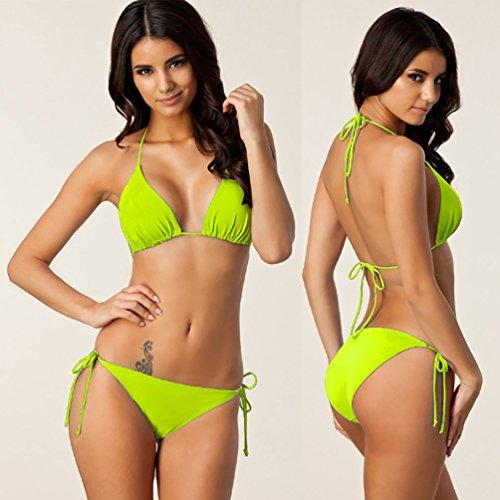 Baymate Donne Charme Costume Da Bagno Colore Solido Bikini Halter Due Pezzi Beachwear Verde