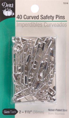 Gebogene Ebene (Dritz Größe 2Sicherheitsnadeln, gebogen sind nur die Rechte Winkel für leichtes versenken des Quilt Schichten mit. Nicht Größe 2ist empfohlen für High Loft Batting. vernickelt Stahl, 40ct.)