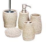 Jazooli Bathroom Accessory Set 5 Piece Soap Dish Dispenser Tumbler Toothbrush Holder