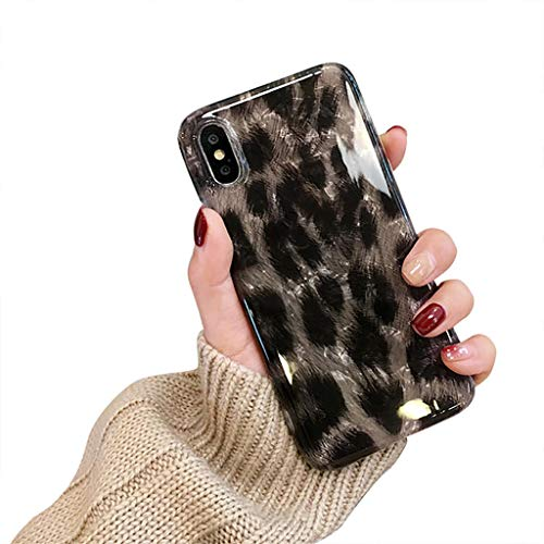 Bakicey iPhone XR Hülle, iPhone XS Max Handyhülle Weich Silikon Mode Chic Schutzhülle Bumper Cover Kratzfeste Stoßfest Ultra dünn Hülle case für Apple iPhone XS/X (iPhone XS/X, 0-Leopard) Leopard-taste