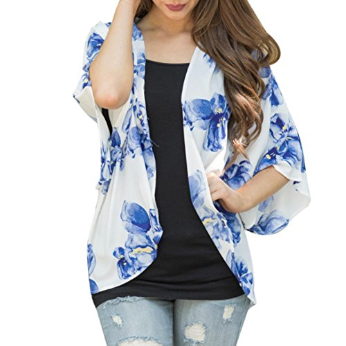 VENMO Frauen Sommer Floral Open Cape Casual Coat Loose Bluse Kimono Jacke Strickjacke (XXL, (Kostüme 81 Nationale)
