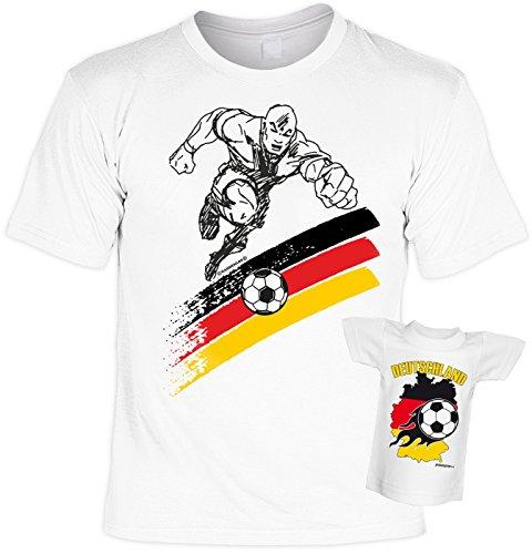 Fussball Fan Shirt T-Shirt Set mit Mini Fußballspieler Europameister Nationalmanschaft Germany Deutschland WM2016 EM2014 Weiß