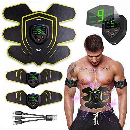 EGEYI EMS Muskelstimulator Bauchtrainer, USB Wiederaufladbar & LCD Bildschirm EMS Trainingsgerät für Herren Damen zur Muskelaufbau und Fettverbrennung, 10PCS Ersatz-Gel-Pads, Schwarz rot