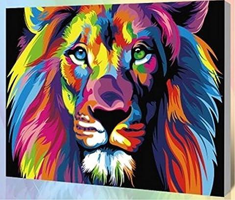 Obella Peinture par numéros Kits issu de la gamme Couleur Lion 50x 40cm issu de la gamme Peinture par numéros numériques, peinture à l'huile, sans cadre