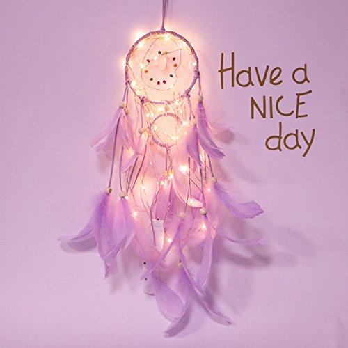 Gaddrt 2 m 20 LED Traumfänger mit Spitze Federn Beleuchtung Mädchen Zimmer Glocke Schlafzimmer romantische Dekoration Geschenk (Perlen-halskette Gold Fügen Eine Sie)