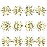 Fiocchi di neve per natale OULII Fiocchi di neve per decorazione albero di natale da appendere di 10 cm 12PCS (Oro)