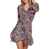 ORANDESIGNE Damen Herbst Winter Mode Sexy A-Linie V-Ausschnitt Leopard Drucken Rüschen Langarm Bündel Taille Party Kleid Minikleid Abendkleid Cocktailkleid C Rosa DE 36