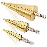 Bestechno Titan-Nitrid beschichtete Hochgeschwindigkeits stahl stufenbohrer im 4-12/4-20/4-32 mm Set