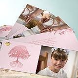 Danksagung für Kommunion, Stammbaum Kommunion 200 Karten, Kartenfächer 210x80 inkl. weiße Umschläge, Rot