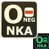 Glow Dark ONEG O- NKA Blutgruppen No Known Allergies Taktisch Tactical Morale PVC Gummi Velcro Aufnäher Patch