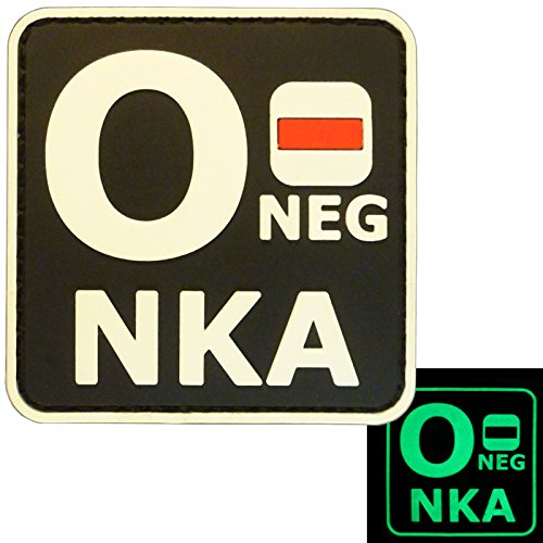 Glow Dark ONEG O- NKA Blood Type No Known Allergies Tactical Morale PVC Rubber Fastener Patch