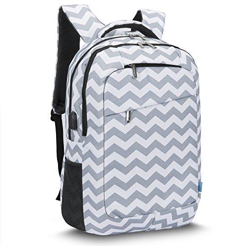 CoolBELL 17,3 Zoll Laptop Rucksack mit USB Ladeanschluss funktion / Mutil-Fach Reise Rucksack / wasserdicht Knapsack / Schützende Tagestasche für Männer / Frauen(Grau-Welle) (Beste Laptop-rucksack)