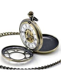 Stayoung Steampunk Dos Tapas Números Romanos Cuerda Manual Reloj de Bolsillo Mecánico Flores Colgante Suerte Flor Afortunada de 6 Pétalos