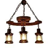 LilaminsThebox Nordic retrò industriale lampadari di vento American village loft creativo carattere ferro dining bar lampadario ornamenti temi del vento la barca di legno ancoraggio ,55*52cm lampadario