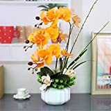 Dreamingces Künstliche Blumen Orchideen Keramik Vasen Bonsai Gelb Kreative Werk Home Decor Hochzeit Geschenk