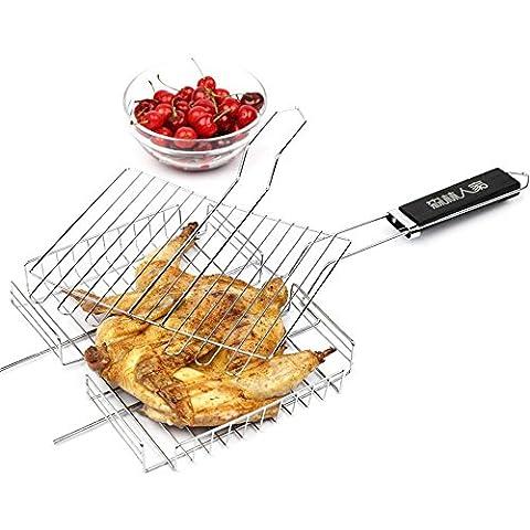 Rostfrei Multi-Layer-Fisch gegrillte Mais Roast Hähnchen Barbecue net Gebratene Hammelfleisch Spieß Grill Quadrat Grill BBQ West