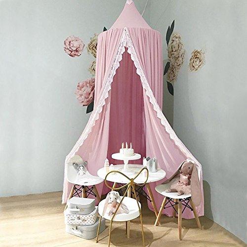 Chiffon Betthimmel , GINKAGO Kinderzimmer Insektenschutz Baldachin Deko Moskitonetz Atmungsaktiv Pink, 240*60*400(Untenumfang)cm