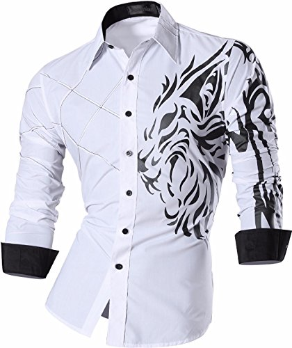 jeansian Herren Freizeit Hemden Lion Tattoo Printing Long Sleeves Slim Fit Dress Men Shirts Tops Z030 White