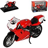 Cagiva Mito 125 Rot 1/18 Welly Modell Motorrad mit individiuellem Wunschkennzeichen