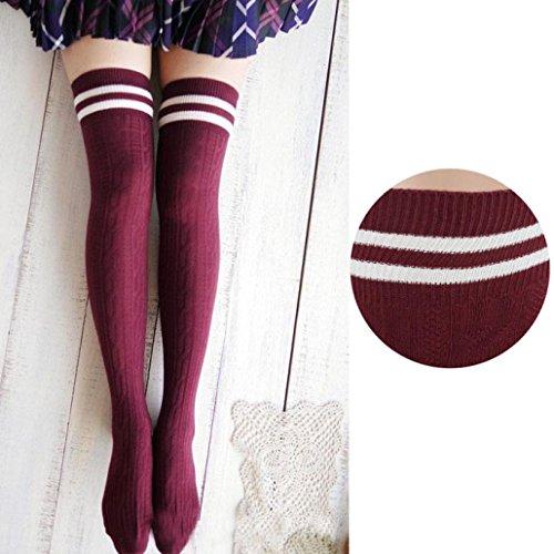 DDLBiz® College Mädchen Wind Overknee Strümpfe über Kniestrumpf (Rot)