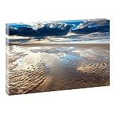 Ebbe an der Nordsee | Panoramabild im XXL Format | Kunstdruck auf Leinwand | Wandbild | Poster | Fotografie | Verschiedene Formate und Farben (120 cm x 80 cm , Farbig)