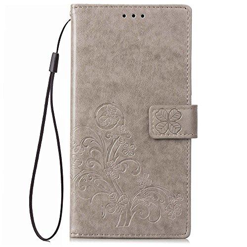 Oneplus 6Case Flip, stoßfest Notebook Wallet Schutzhülle aus Kunstleder geprägt Four Leaf Clover mit Ständer Kartenhalter TPU Bumper Folio Schutzhülle für OnePlus 6