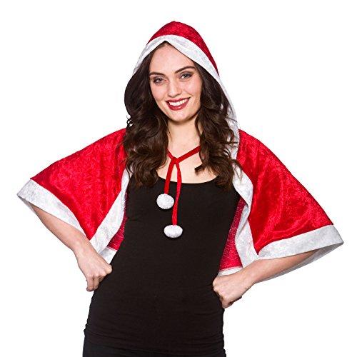 LADIES SANTA HOODED CAPE CHRISTMAS FANCY DRESS ACCESSORY (Womens Christmas Fancy Dress Kostüm)