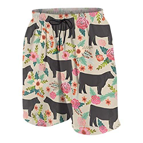 magic ship Show Steer Cows Farm Barn Florals Design Boys Beach Shorts Quick Dry Beach Swim Trunks Kids Swimsuit Beach Shorts,Essentials Boys' Woven Shorts S - Tie-front Woven Shirt