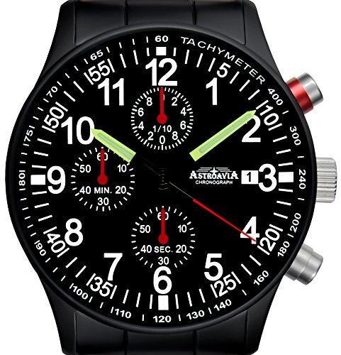 Astroavia Herren-Armbanduhr Chronograph Quarz Edelstahl N97 Black