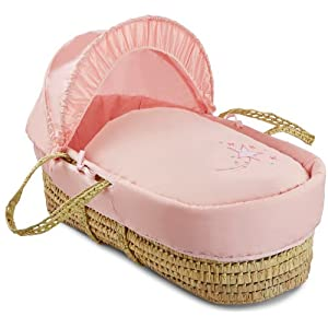 Clair de Lune Starburst Palm Moses Basket inc. Bedding, Mattress & Adjustable Hood (Pink)   13