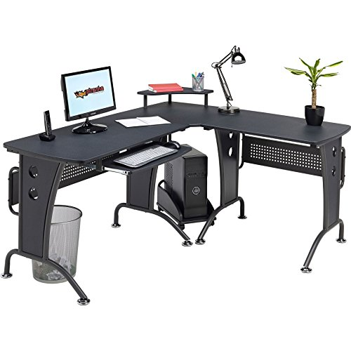 Large Corner Computer and Gaming Desk Table with Keyboard Shelf and CPU Trolley for Home Office in Graphite Black - Piranha Furniture PC 21g