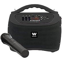 Woxter ROCK'N'GO BLACK, Altavoces portátiles de 40 W (USB, Bluetooth, tarjeta de Memoria , Función Karaoke, 1 micrófono inalámbrico incluido), color negro