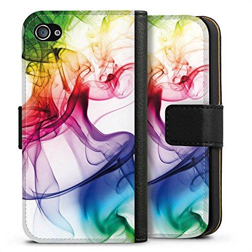 Apple iPhone 6 Tasche Hülle Flip Case Farben Bunt Nebel Sideflip Tasche schwarz