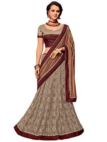 Indian Women maroon and beige color Net & jacquard border lehenga saree