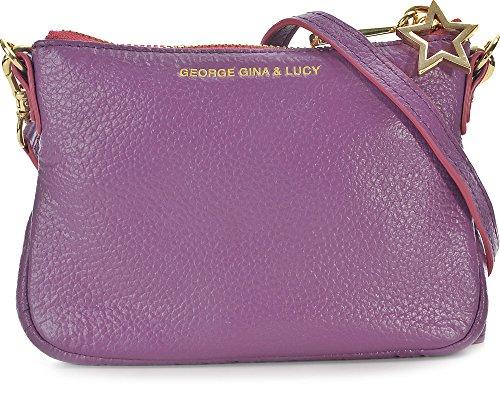 GEORGE GINA & LUCY, Damen Handtaschen, Umhängetaschen, Crossover-Bags, Crossbodys, Leder, Lila, 15 x 11,5 x 2,5 cm (B x H x T)
