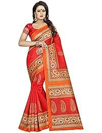 KBF Women Cotton Silk Saree With Blouse Piece (Red_Free Size)