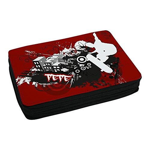 Schul-Mäppchen mit Namen Pepe und Skater-Motiv mit Skateboard und cooler Graffiti-Schrift - Federmappe mit Vornamen - inkl. Stifte, Lineal, Radierer, Spitzer