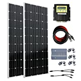 ECO-WORTHY 300W Off Grid Solar System for 12 Volt or 24 Volt Battery Charging Solar Panel Kits: 2pc 150W 12V Monocrystalline Solar Panels + 20A MPPT Charge Controller + Solar Cable + MC4 Branch Connectors + Mounting Z Brackets