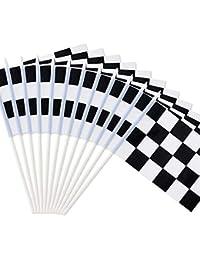 Novelty Place Bandera de Carreras de Color Blanco y Negro de Cuadros DE 20 x 14 cm – Palo de plástico – Decoraciones para Carreras, Carreras de Coche, Fiestas, Eventos Deportivos (12 Unidades)