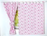 BABYLUX Kinderzimmer VORHANGE mit Schlaufen Kinder und Baby Gardinen 2x 120x160 cm (67. Herzen Rosa)
