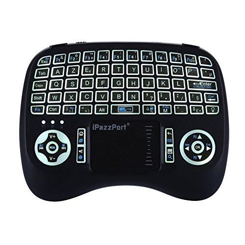 Mini Clavier Française, iPazzPort Wireless (AZERTY) Rétro-éclairé Clavier Ergonomique sans Fil avec Clavier Touchpad - Pour Smart TV, mini PC, HTPC, Console, Ordinateur, Raspberry Pi