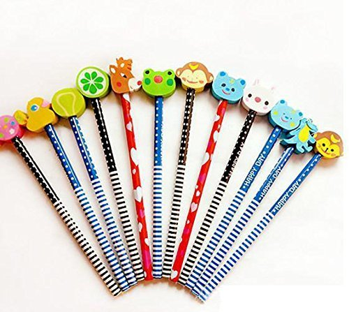 KABEER ART 12 Pcs. Pencils with Funky Eraser Tops- School Kids Fun Writing Stationery Gifting Items In Attractive Bristle Pack