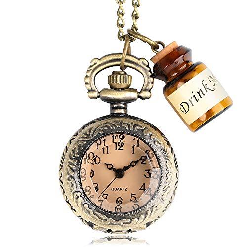 HANXIAO Taschenuhren Bronze Transparent Taschenuhr Kette Mini Halskette Anhänger Little Drink Me Flasche Dark Brown Glass Fashion-Blue -