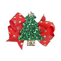Emorias 1X Christmas Tree Hairpin Bowknot Hair Bow Headband Alligator Clip Christmas Party Children Headdress Accessory (Red)