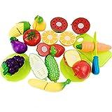 owikar 16Kinder Obst Gemüse schneiden Toys Set Simulation Play Spiel Küche Pretend Schneiden Lebensmittel Spielset Early Educational Lernen Spielzeug Weihnachten Geburtstag Party Geschenk für Kinder Kinder