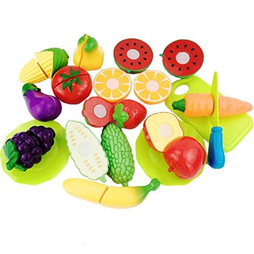 owikar 16Kinder Obst Gemüse schneiden Toys Set Simulation Play Spiel Küche Pretend Schneiden Lebensmittel Spielset Early Educational Lernen Spielzeug Weihnachten Geburtstag Party Geschenk für Kinder Kinder (Toy Story Figur Einhorn)