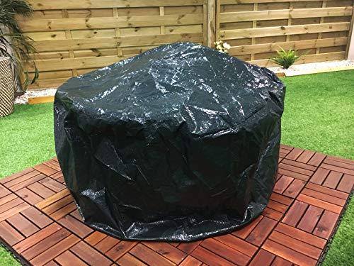 LIVIVO Feuerschalen-Abdeckung, robust, groß, wasserdicht, für Grill, Regen, Garten, UV-Schutz, mit Kordelzug - Grün - Premium-holzkohle-grill-abdeckung